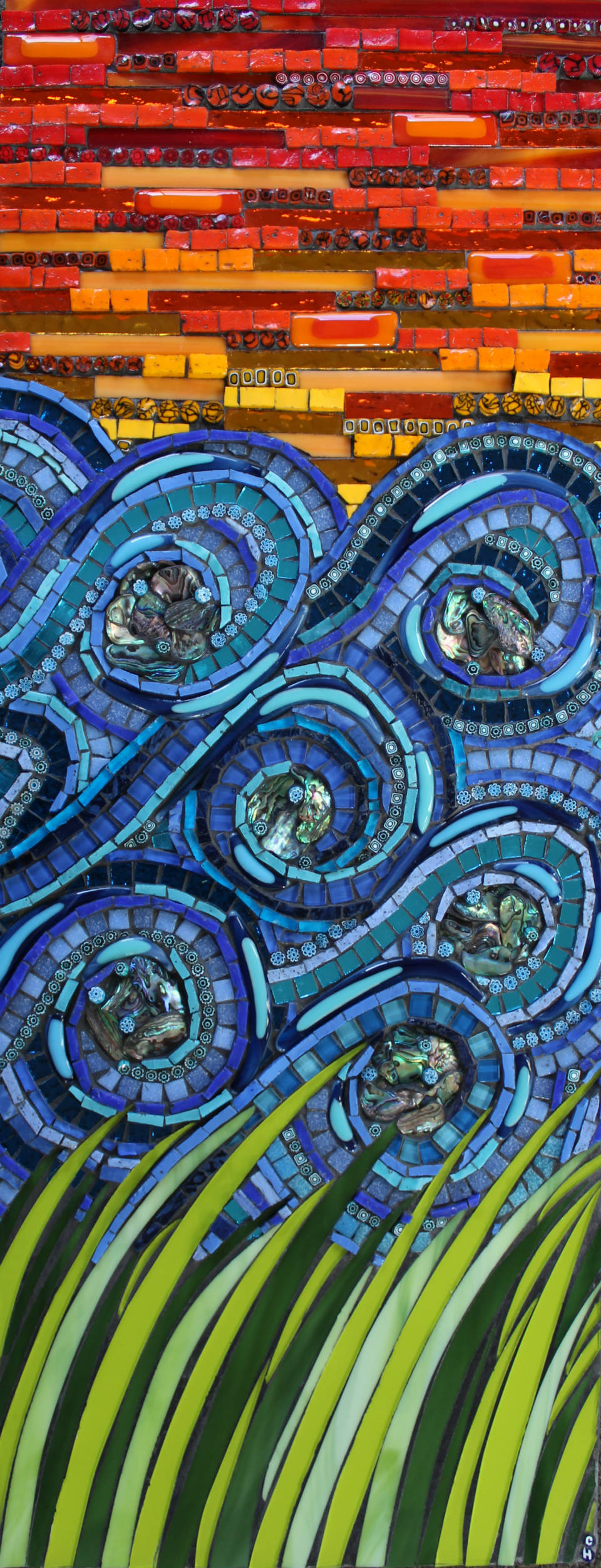 Elements #1 (Stained Glass, Smalti, Millefiori, Paua Shell,Mirror Glass, Glass Fusions)