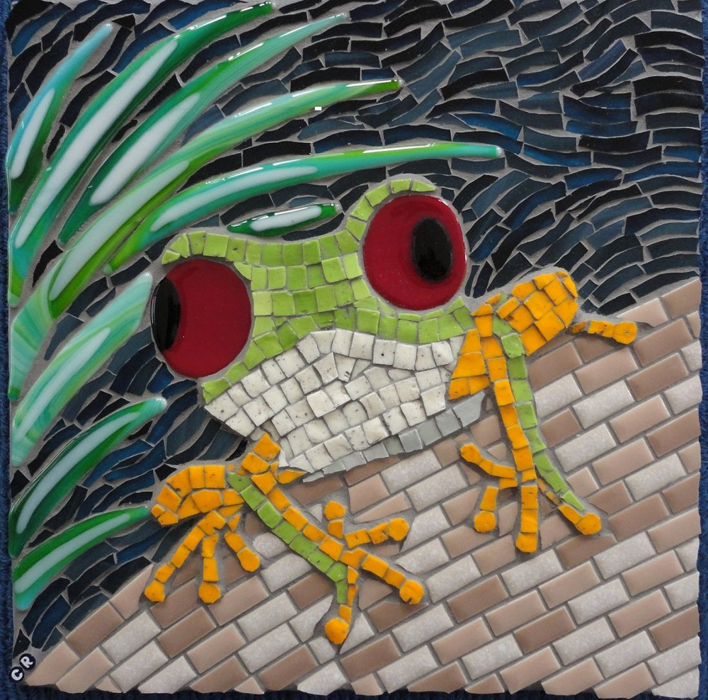 Gree Tree Frog #1 (Stained Glass, Glass Fusions, Smalti, Ceramic Tiles)