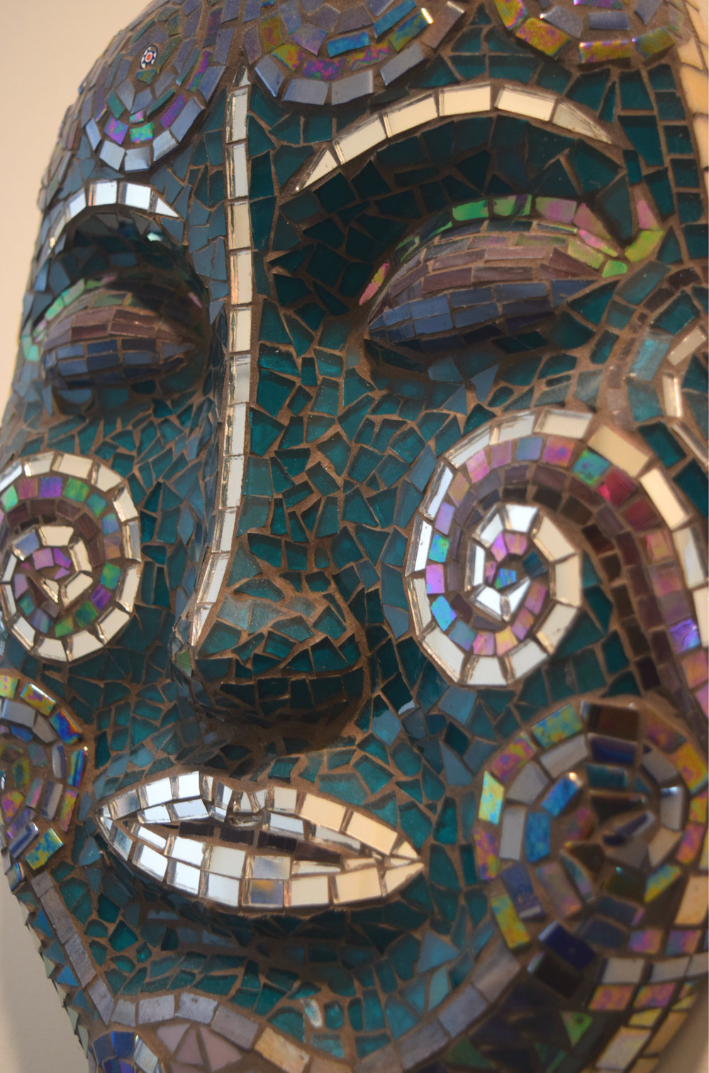 Spiraled Mask (Stained Glass, Millefiori, Mirror, Glass Tiles)