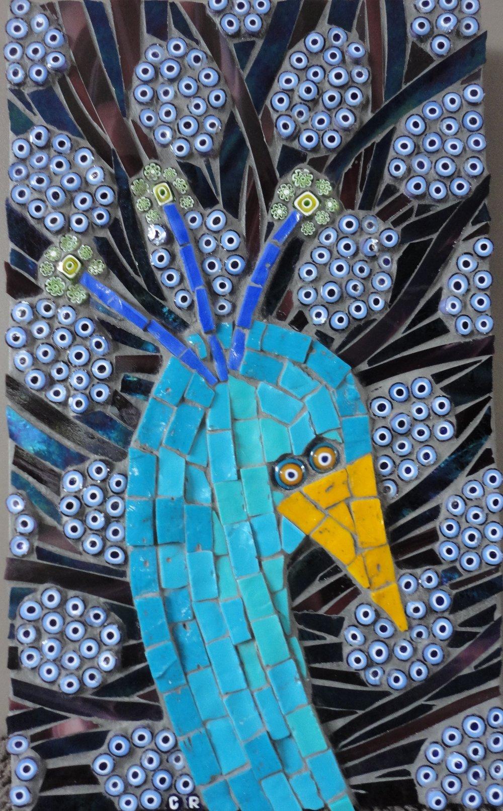 Peacock (Millefiori, Smalti, Stained Glass, Glass Eye Fusions)
