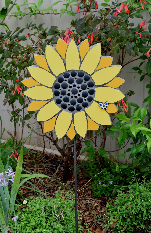 Sunflower Garden Stake (Ceramic, Beads)