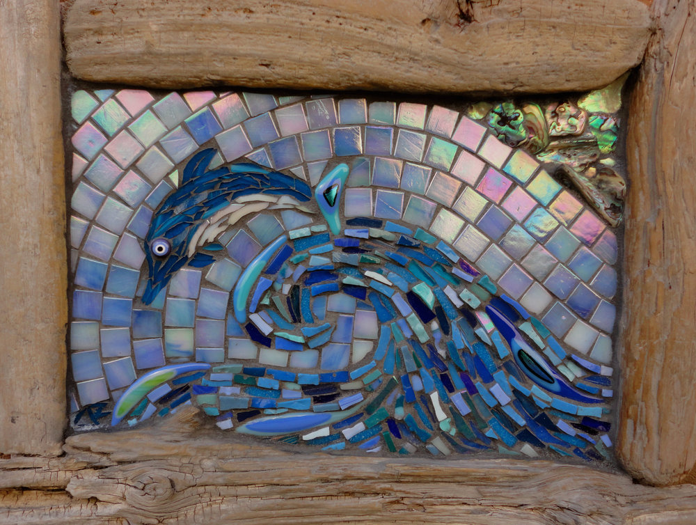 Dolphin Wave (Glass Tiles, Smalti, Glass Fusions, Paua Shell)