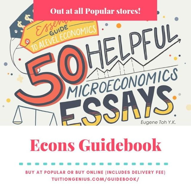 "Get your copy of Mr Toh's Microeconomics Essays guidebook now! Available at all Popular Bookstores for $14.90 OR online for $19.90 (includes delivery fee and admin charge) at https://bit.ly/2RW3yml ""50 Helpful Microeconomics Essays"" is the first book in a series of guidebooks to be published to aid students in their quest to do well for their final A Level economics examinations. The author of this guidebook series, Mr Eugene Toh, is a renowned economics tutor in Singaporewho has tutored thousands of students since 2007.  The essays provided are comprehensive and address a wide range of concepts that helpstudents develop proficiency in tackling examination questions. They are presented in a veryeasy-to-digest manner that is useful for revision all year round.  The content covered includes Demand & Supply, Elasticities, Firms & Decisions, Market Failure & Government Policy; while the skills covered include (i) how to structure essays, (ii) evaluation skills, and (iii) real-life application. Real-world examples provided seek to enable students to apply theoretical knowledge and further enhance their understanding."