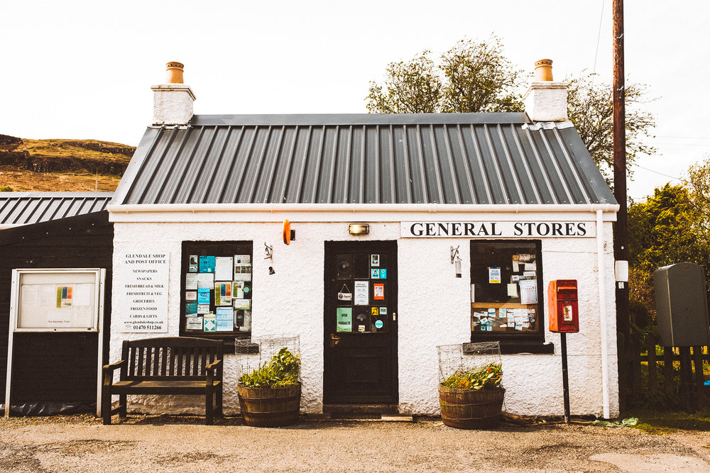 Small store on the road of the Isle of Skye