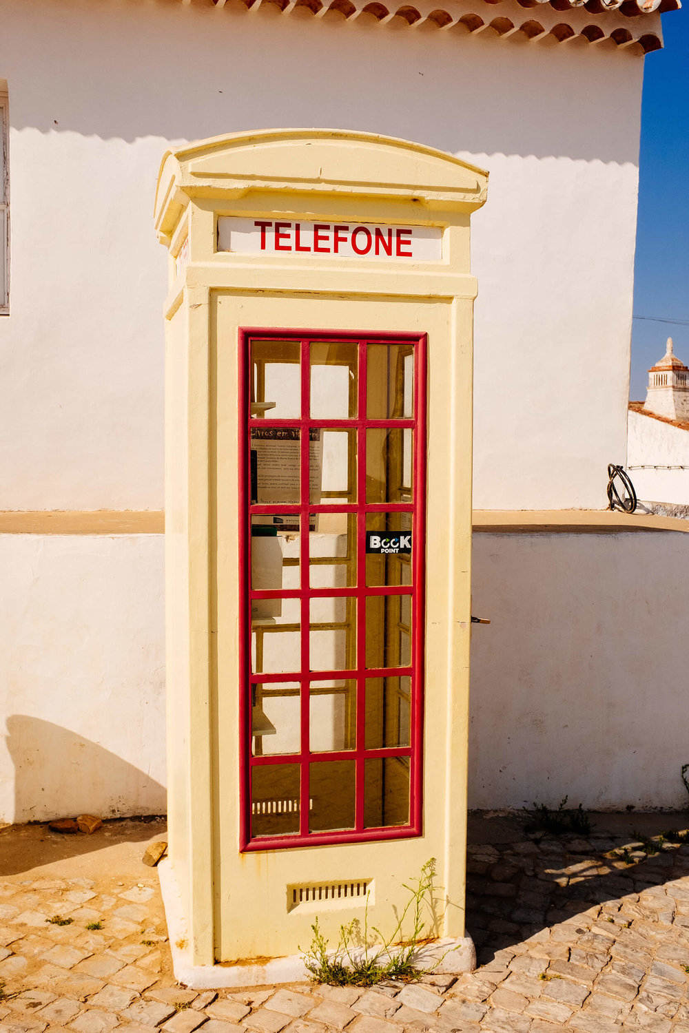 This old telephone booth has been turned into a tiny library in the village of Cacela Velha