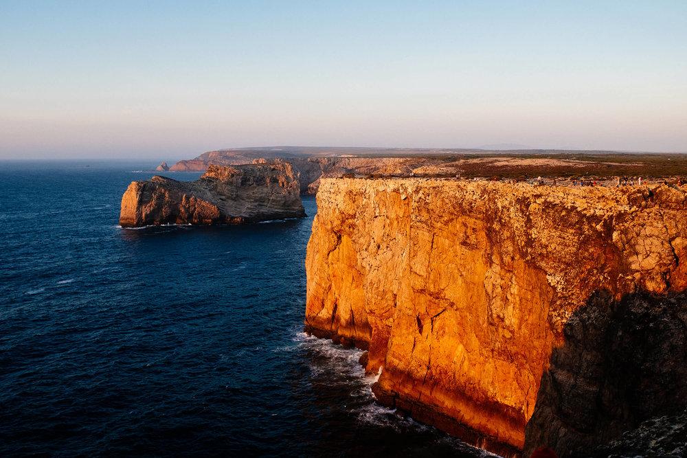 Sunset light on the cliffs of Cabo de São Vicente