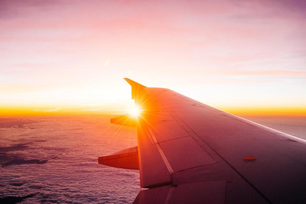 Last rays of Portugal light on our return flight
