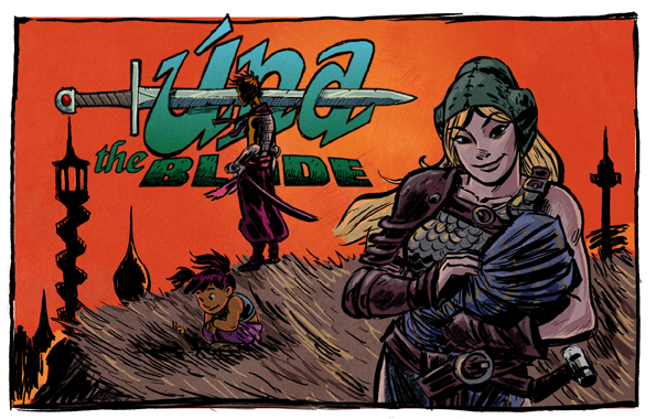 Una the Blade, a single-mom barbarian woman comic by Steve LeCouilliard