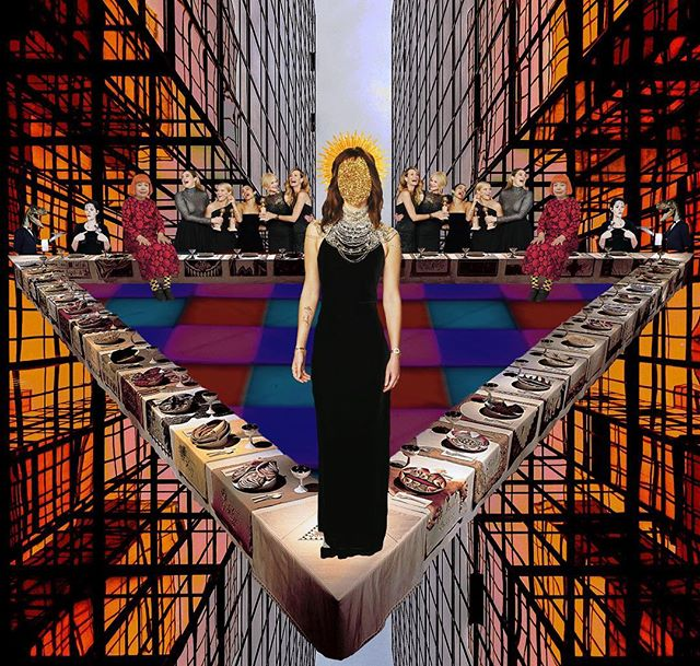 Welcome to the dinner party (Judy Chicago), digital collage, 2018 #art #contemporaryart #contamporary #contemporaryart #contemporaryphotography #digitalcollage #visualart #glittercube #glitter #cube #feminism ##gender #feministart #girlpower #grlpwr
