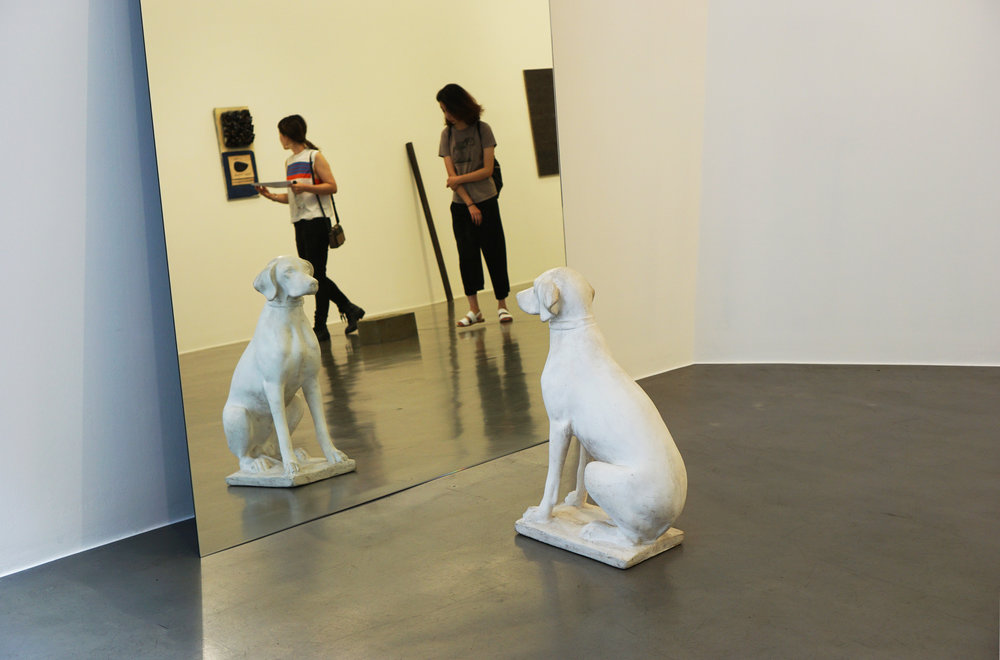 Michelangelo Pistoletto,  Cane all Specchio (Dog at the Mirror) , 1971, plaster and mirror, in two parts