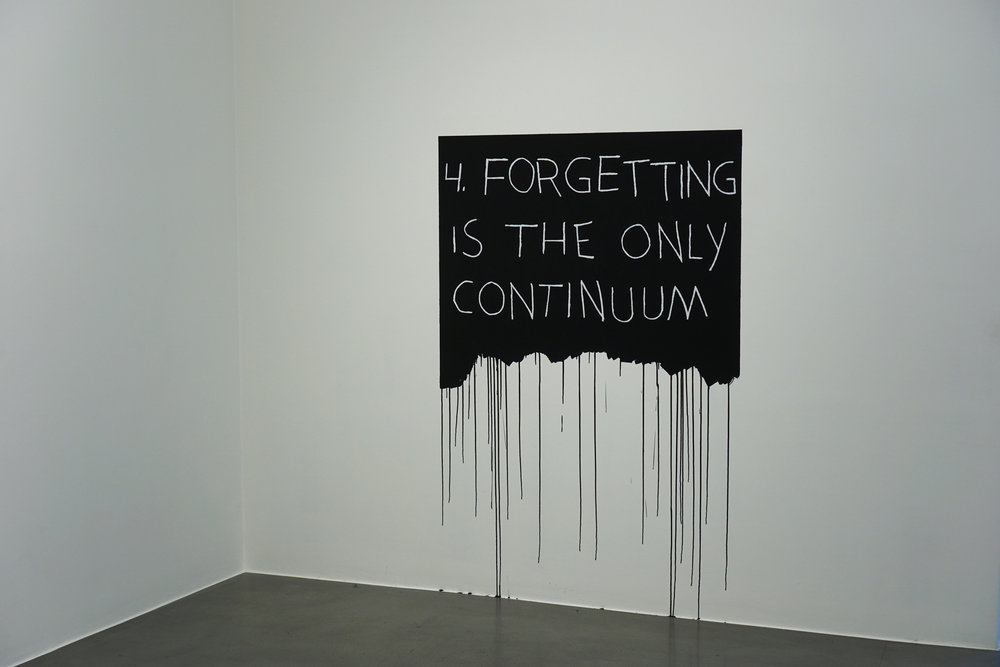Mel Bochner,  Forgetting Is The Only Continuum , 1971/2018, acrylic paint and oil pastel on wall