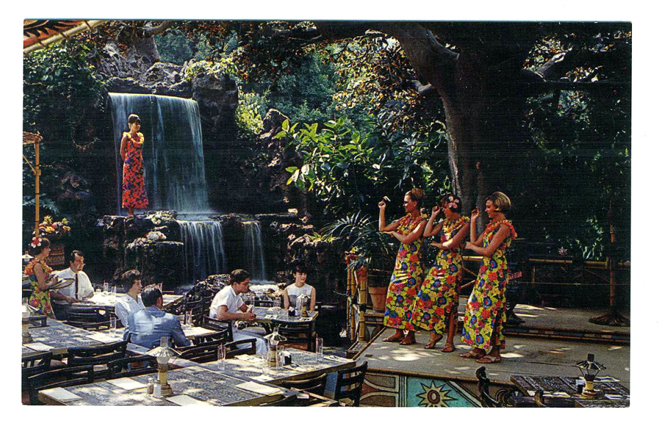 A postcard showing the waterfall and stage at The Tahitian Terrace.