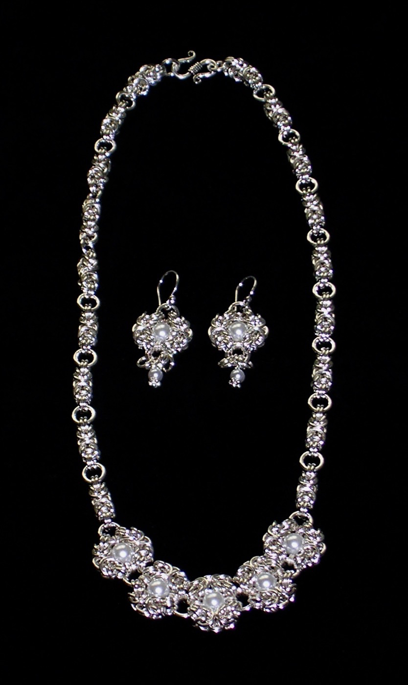 Byzantine Rose and Romanov Necklace and Earrings