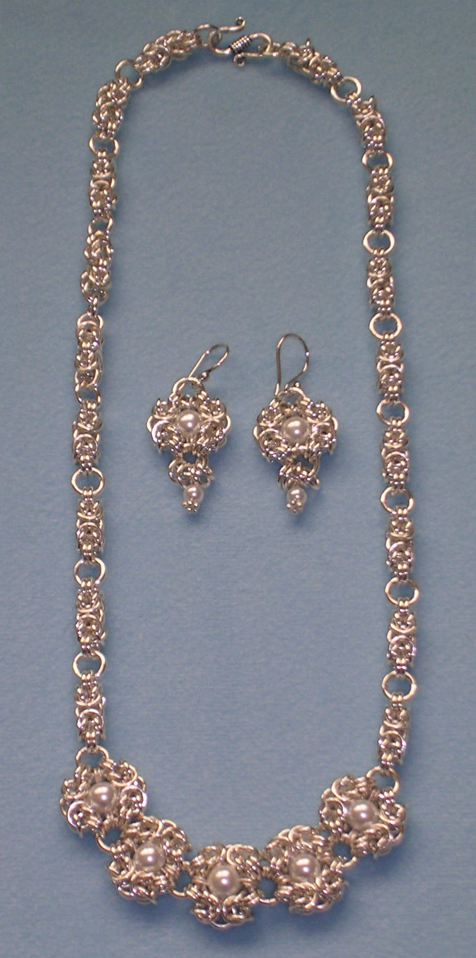 Byzantine Rose Necklace with Romanov centerpiece and earrings