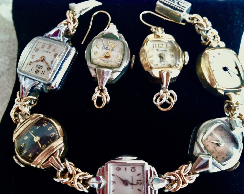 Novelty Bracelet and earrings with antique watches