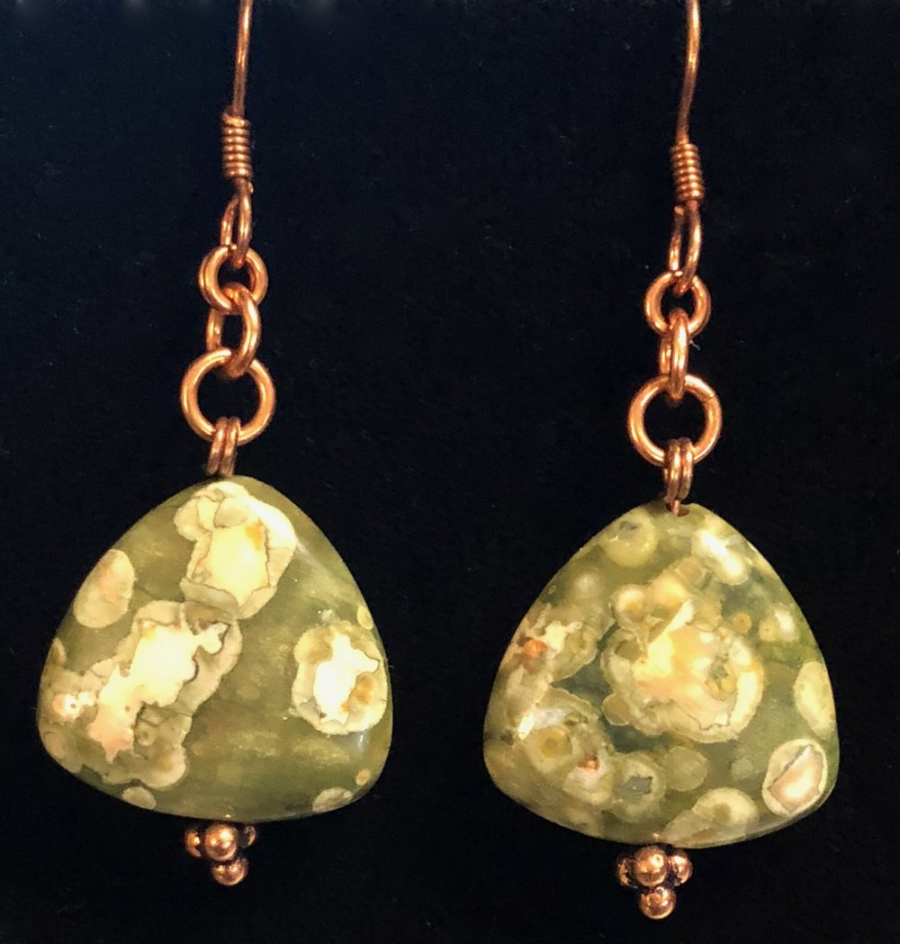 Rhyolite and copper earrings