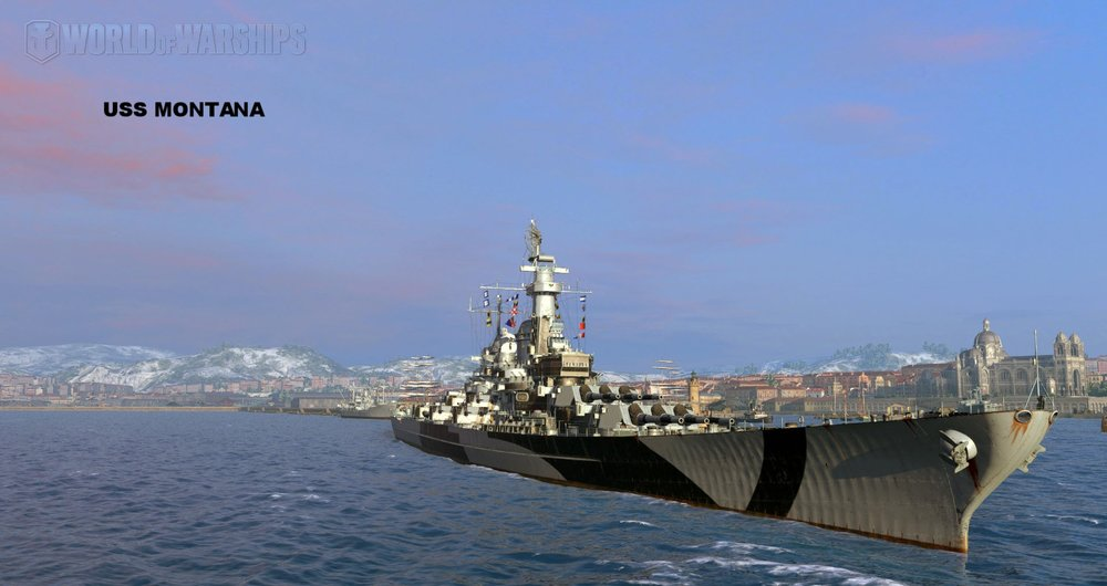 Screen Shot of US Navy Battleship Montana from in-game screen shot from World of Warships