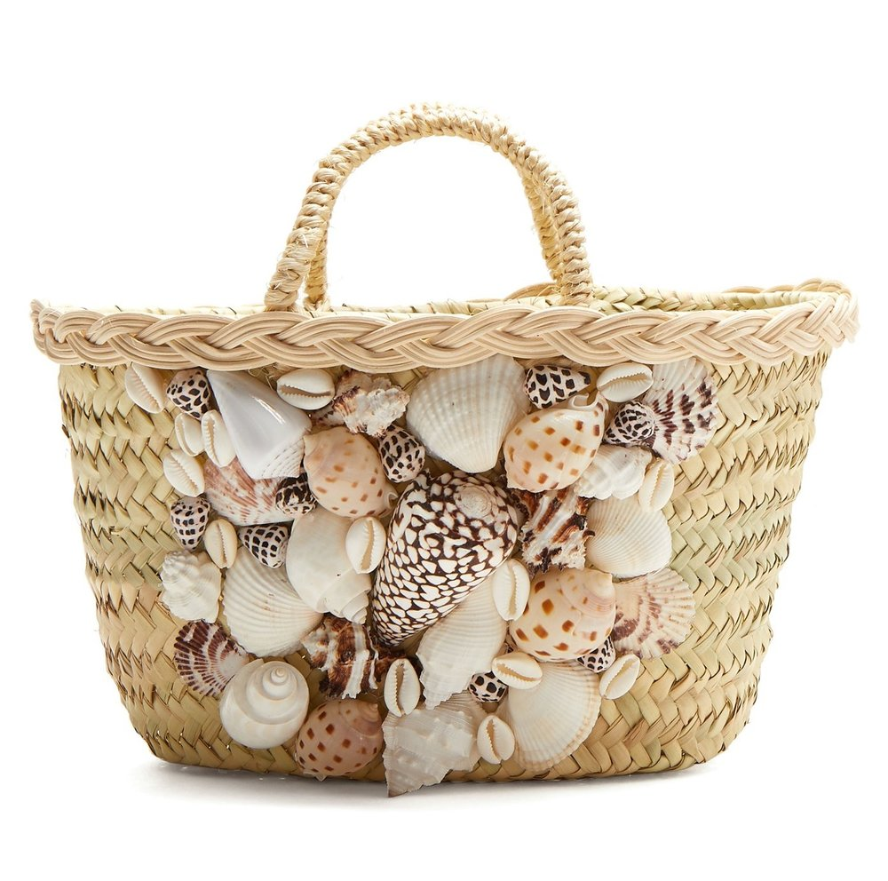 Why we love it! - Rebecca de Ravenel's exploration of oceanic motifs continues with this beige woven straw She Sells Sea Shells basket bag, named after the classic tongue twister. It's crafted to a classic shape with a flat base and braided top handles, then adorned with a selection of shells at the front. Carry it to offset the label's printed beachwear throughout your vacation. Shop the bag