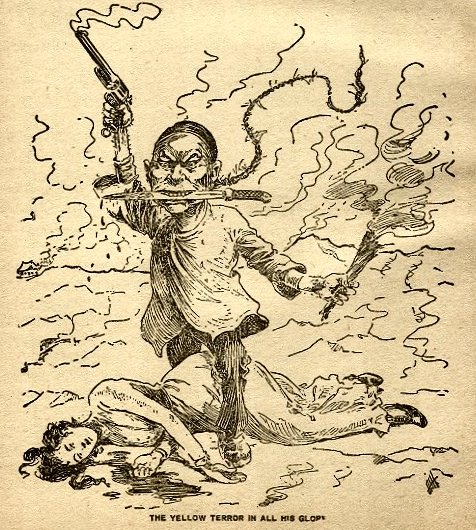 "An old cartoon drawn in black ink on yellow paper of a Chinese … man? goblin? with a long queue, a bolo knife in his teeth, and a smoking torch and revolver in his hands, standing astride a fallen white lady. The caption reads ""The Yellow Terror in All His Glory."" From Wikimedia Commons."