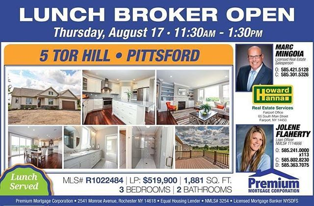 """I am extremely excited to share with you this Beautiful home in  a luxury patio home community in Pittsford, NY... Hawkstone at Malvern Hills.  Open to all Rochester Agents and Anyone who would love to see what the """"Buzz"""" is all about in Pittsford!  Join Jolene and I for lunch at 5 Tor Hill located just south of Pittsford Village off Thornell Road at 11:30am! #dreamhome #hawkstoneatmalvernhills #luxuryhomes #beautifulcommunity #marcmingoia.com #realestatelife #pittsfordny #rochesterny #readysetgo"""
