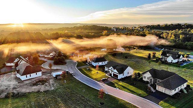 Sunrise at Hawkstone #earlymorningbeauty #realestatelife #ketmarhomes #pittsfordny #@marcmingoia.com #dronefun