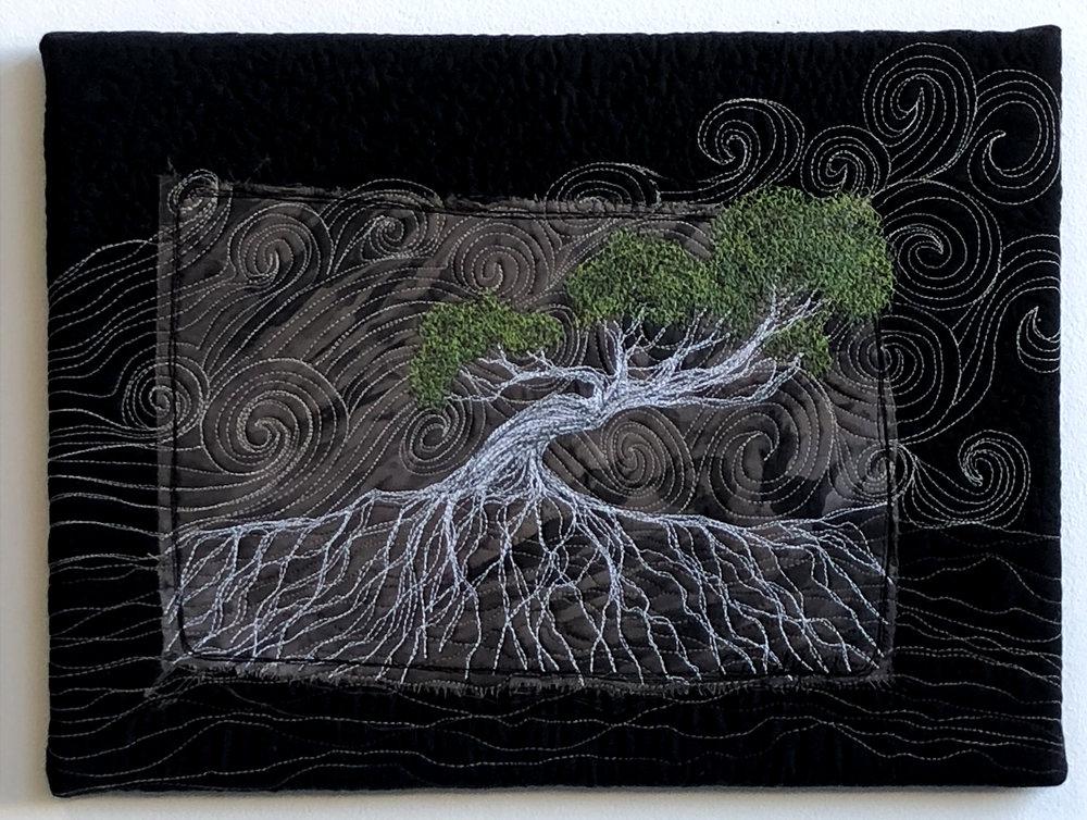 Green windswept tree By Cindy Watkins