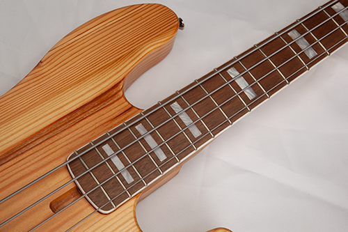 StoryWood 4R-5 J-bass bound block neck reclaimed wood