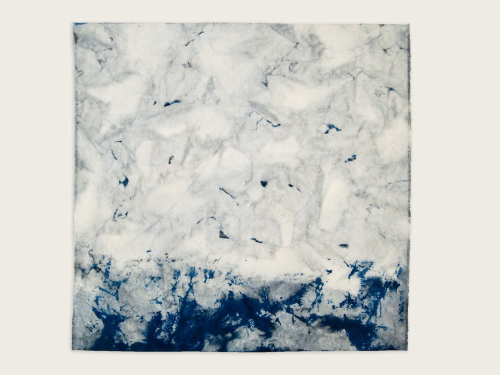 'Living Water'  Indigo and silk thread on canvas-   100cm x 100cm