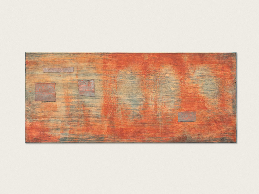 'The nature of trees II'  Indigo, ink and corrugated iron on birch ply - 20cm x 46.5cm
