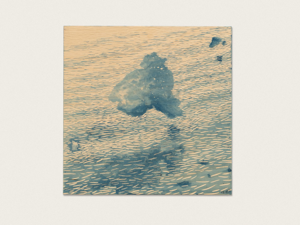 'The nature of clouds III'  indigo dye on birch ply - 31cm x 31cm