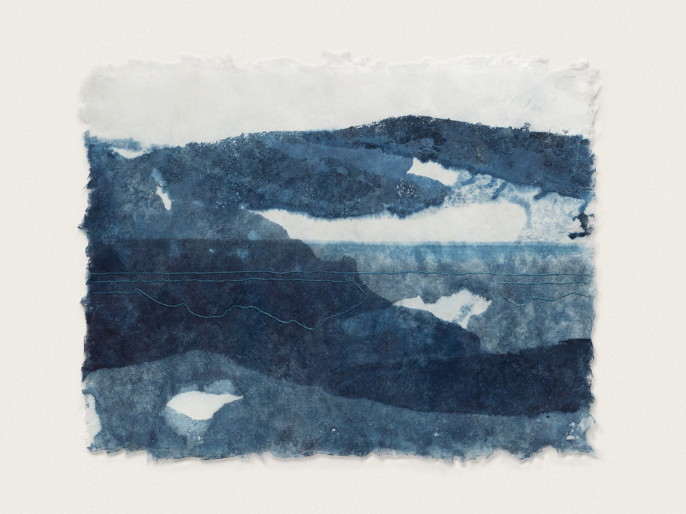 'Inlet I'  Indigo dyed, artist made washi paper and thread - 50cm x 65cm