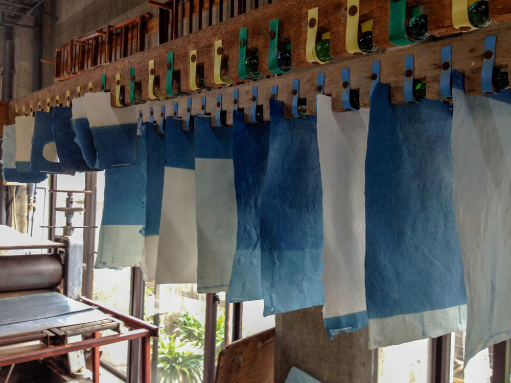 Indigo dyed paper drying at the Awagami factory