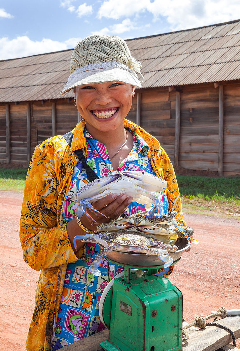 Crab seller Kampot Cambodia