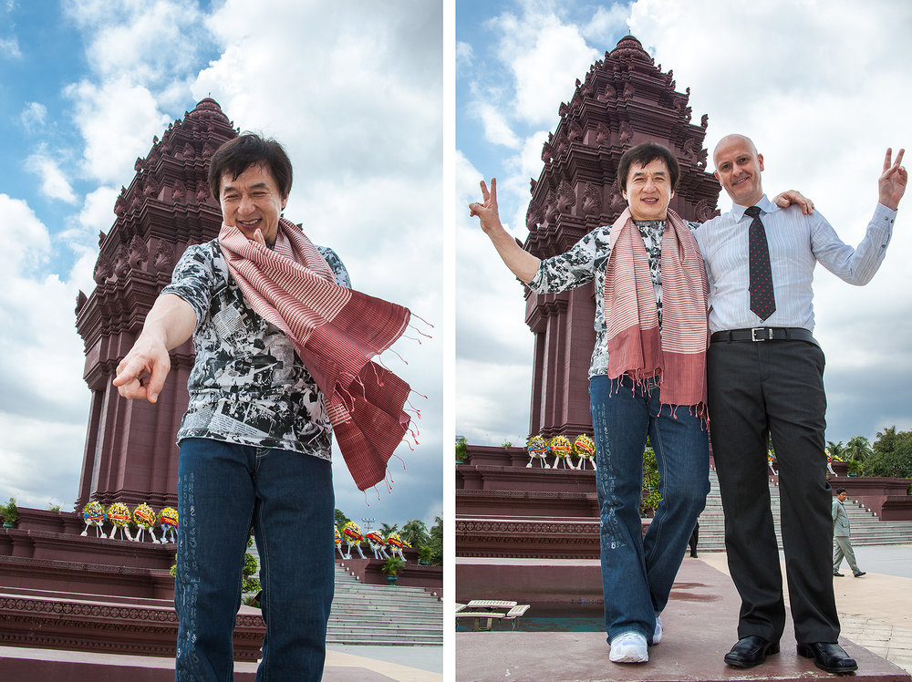 Jackie Chan and Uwe Morawetz at Ind. Monument Phnom Penh, Bridges Int. peace Foundation