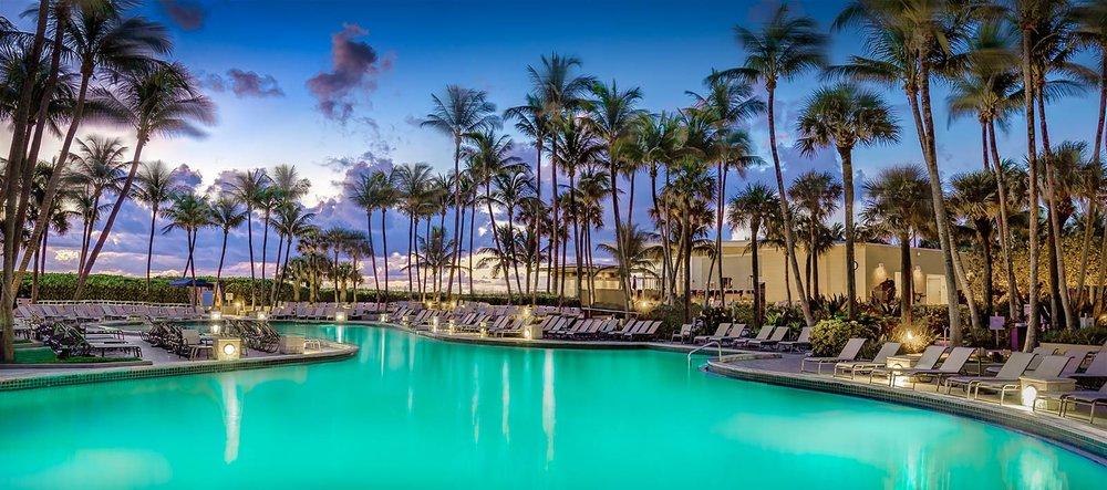 Guest pool at dusk - Fort Lauderdale Marriott Harbor Beach Resort & Spa