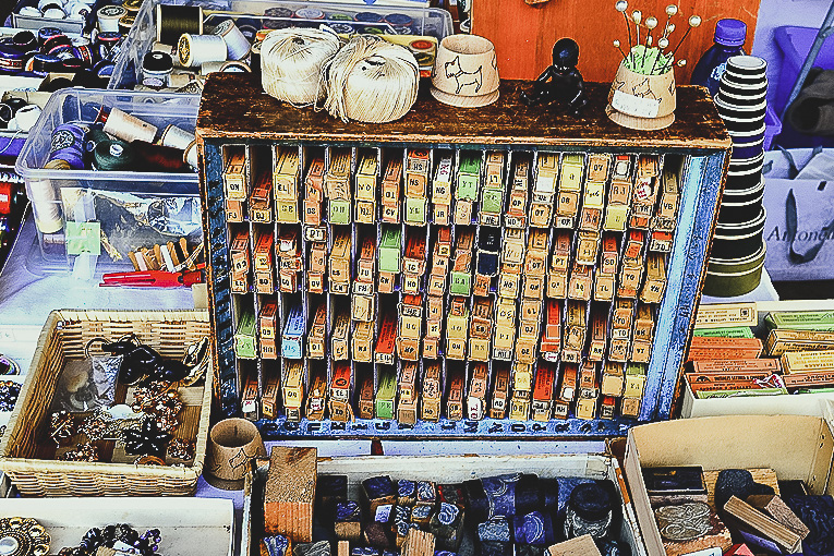 Vintage sewing tools at a French brocante, Mirepoix