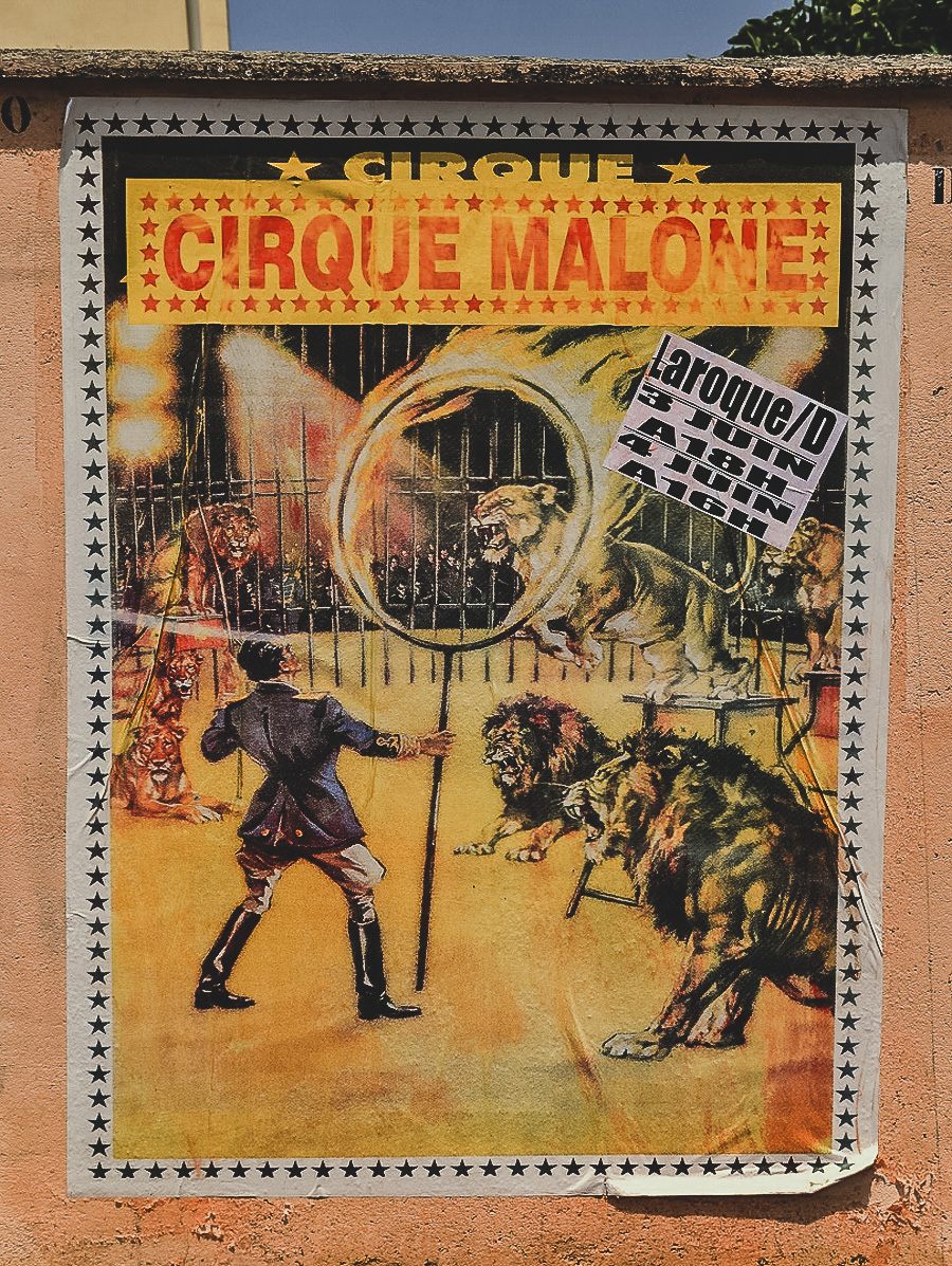 Vintage circus poster in France - French brocante, Mirepoix