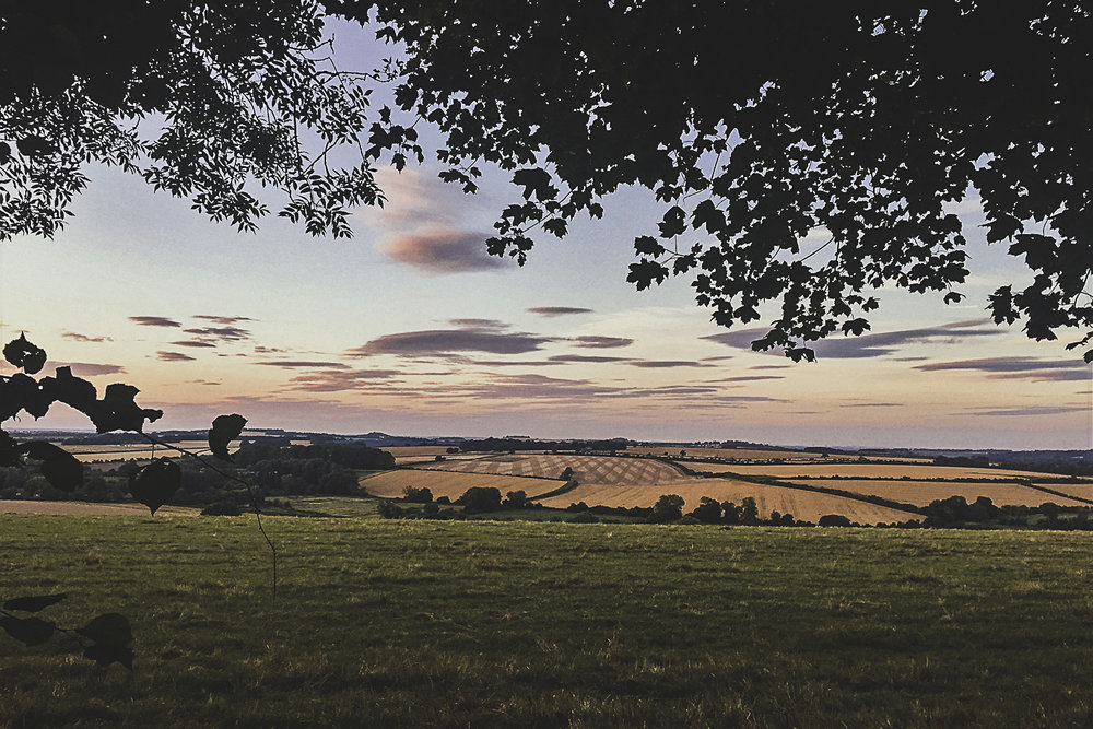 Summer sunset across a view of fields in the Hampshire countryside
