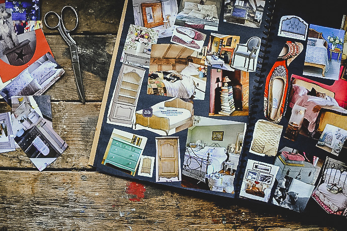 Magazine clippings and a scrapbook - Scrapbooks of creative inspiration