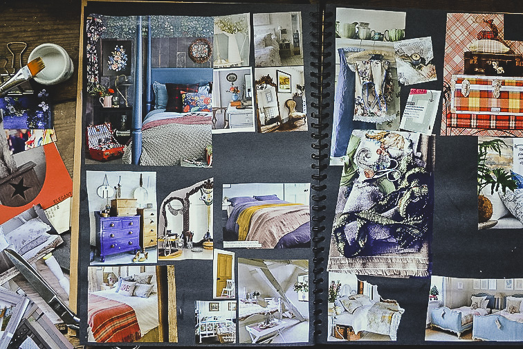 Blues reds and oranges - colour inspiration in a scrapbook - Scrapbooks of creative inspiration