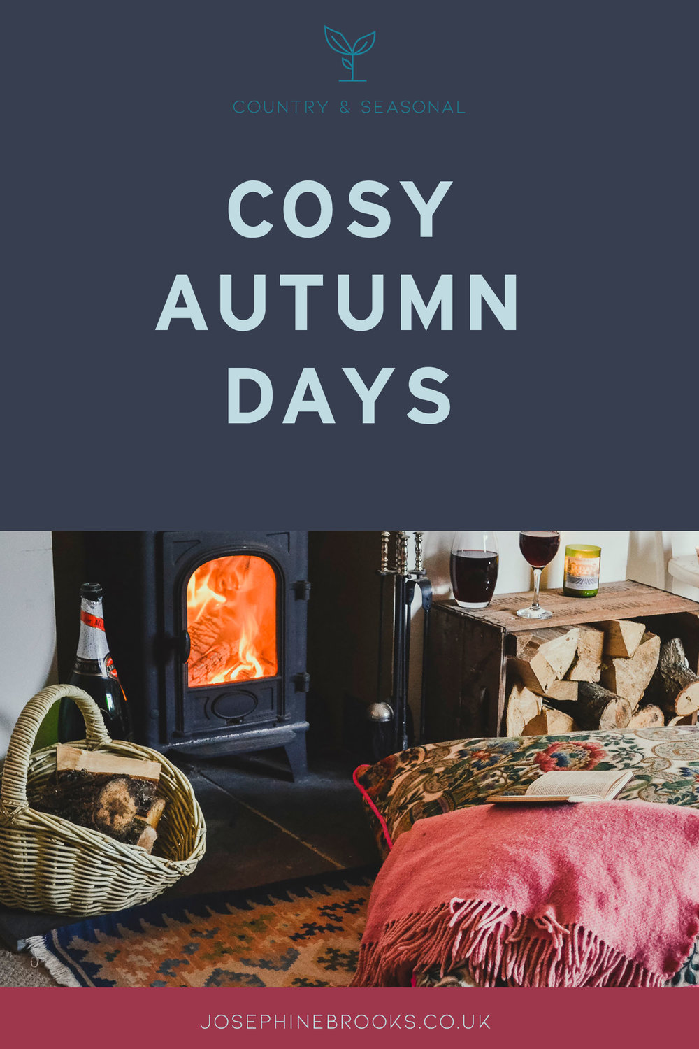 Cosy Autumn Days, Giant floor cushion by a roraing fire with a glass of red wine