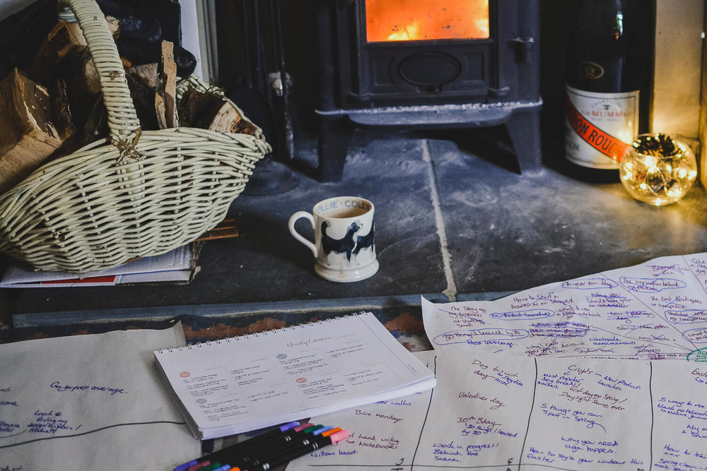 Roaring fire and planning - doing my end of year review and reviewing my business before making a plan for the new year