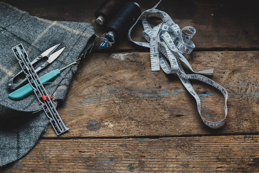 Creative business tools on a rustic wooden table