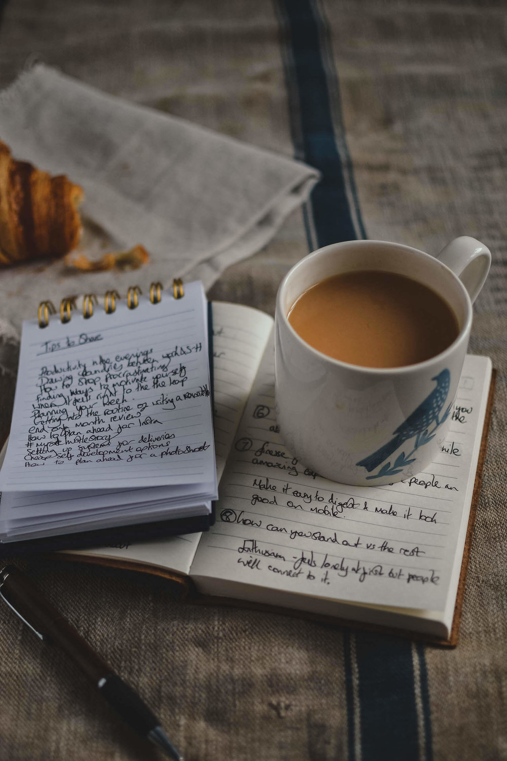 Notebooks and a cup of tea