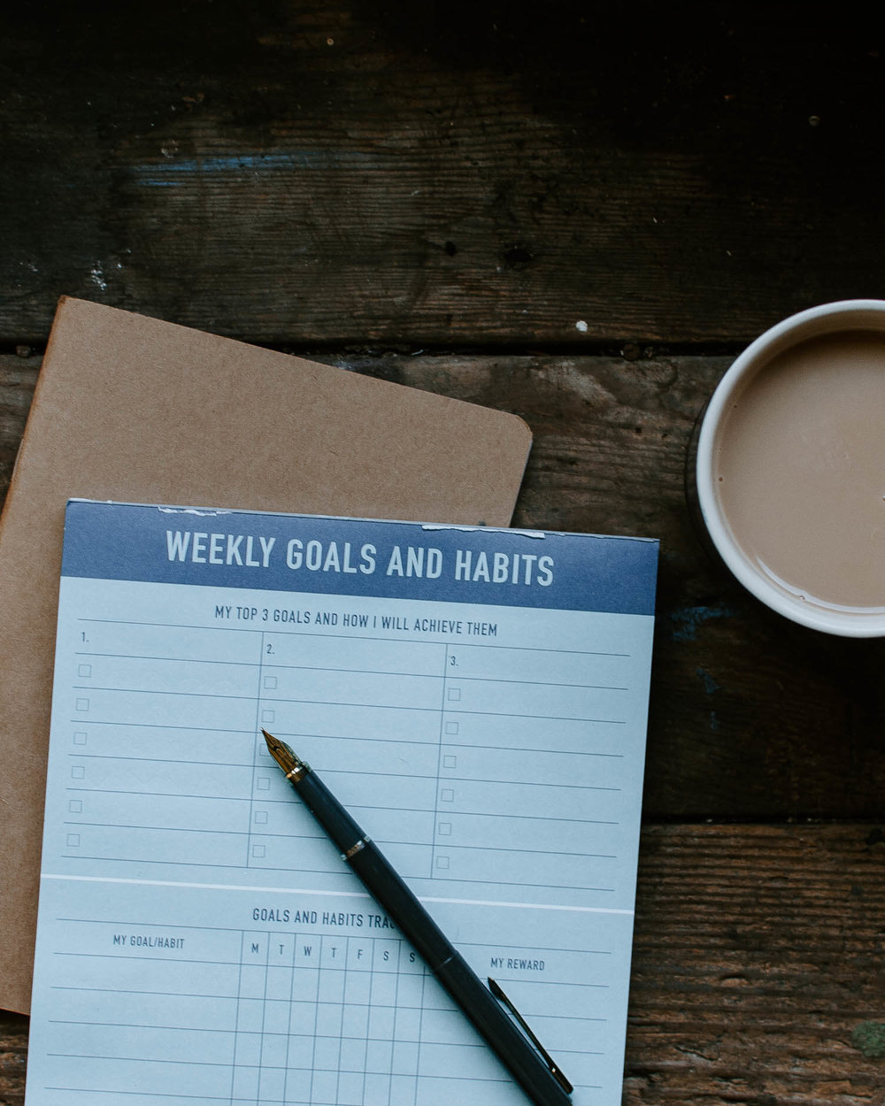 Weekly planner and cup of tea on a rustic table