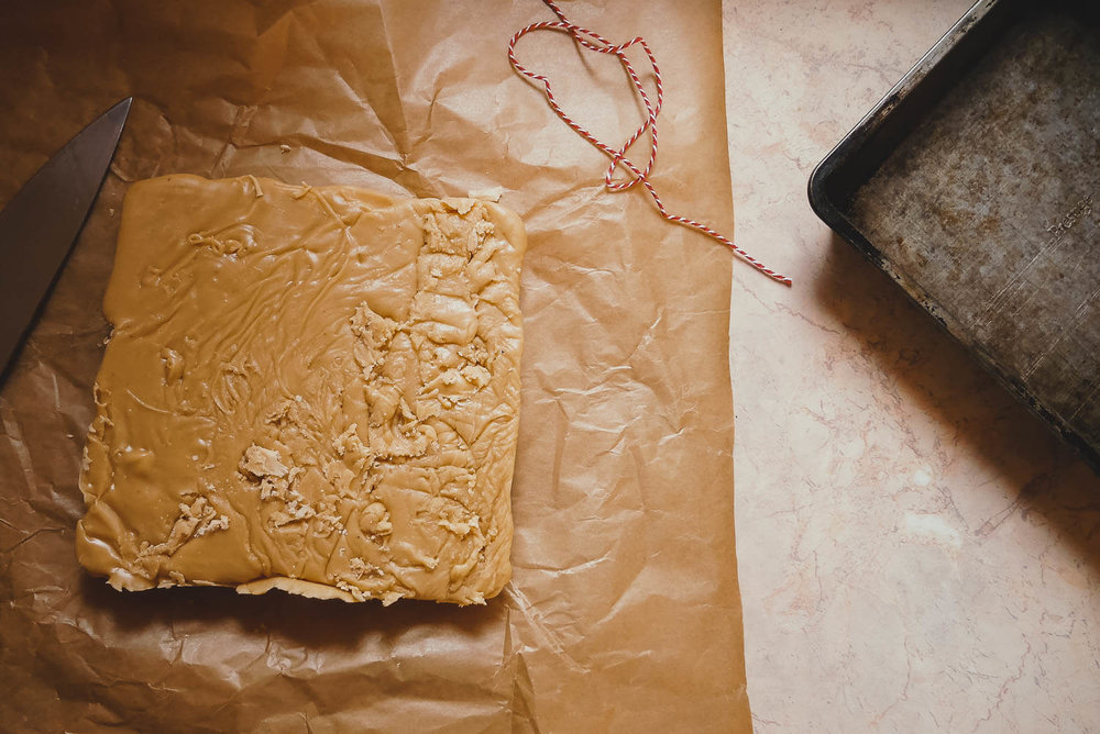 Vanilla Fudge ready to be cut into squares and given as gifts at Christmas