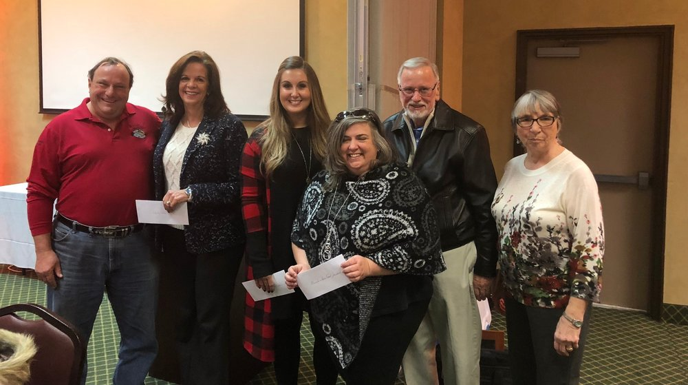 From left to right: Jim Davis with Sevier County Food Ministry, Amy Harper with United Way, April Gillispie Taylor Faith Ministries, Ashley Burnette with Mountain Hope Good Shepherd Clinic, Dick Wellons with Smoky Mountain Area Rescue Ministry, and Ethel Hollenbaugh, President of the Sevierville Hospitality Association.