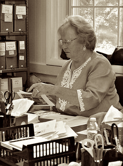 Dodie at work in the Croton Historical Society's office.  Photo courtesy of Maria Cudequest.