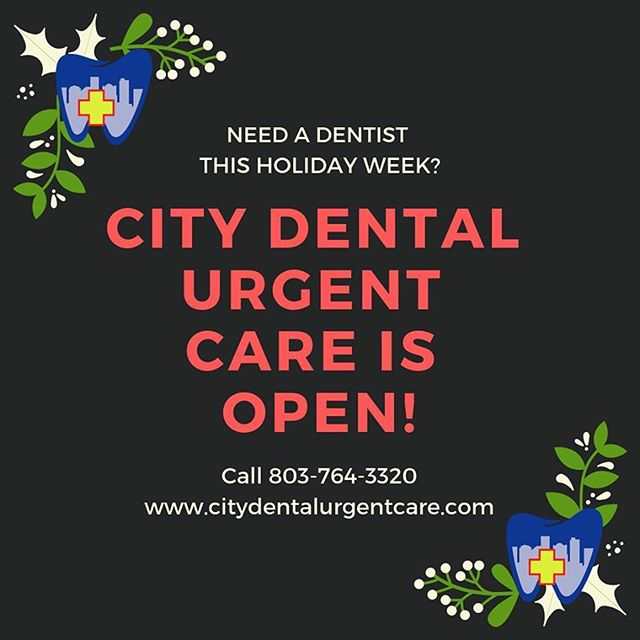 "Need a Dentist this Christmas? WE ARE OPEN! Call 803-764-3320. Hours: • Sat, Dec 22 9am-6pm Sun, Dec 23 2pm-7pm Wed, Dec 26 8am-6 pm Fri, Dec 28 8am-6pm Sat, Dec 29 9am-6pm Sun, Dec 30 2pm-7pm Mon, Dec 31 8am-6pm • ""Because life is busy, and pain can't wait!"" • • • @westcolumbiasc @lexmed @palmettohealth @columbia.sc.local1 @visitlakemurray #dentalemergency #urgentdentalcare #dentalcare #toothache #weareheretohelp #smile"