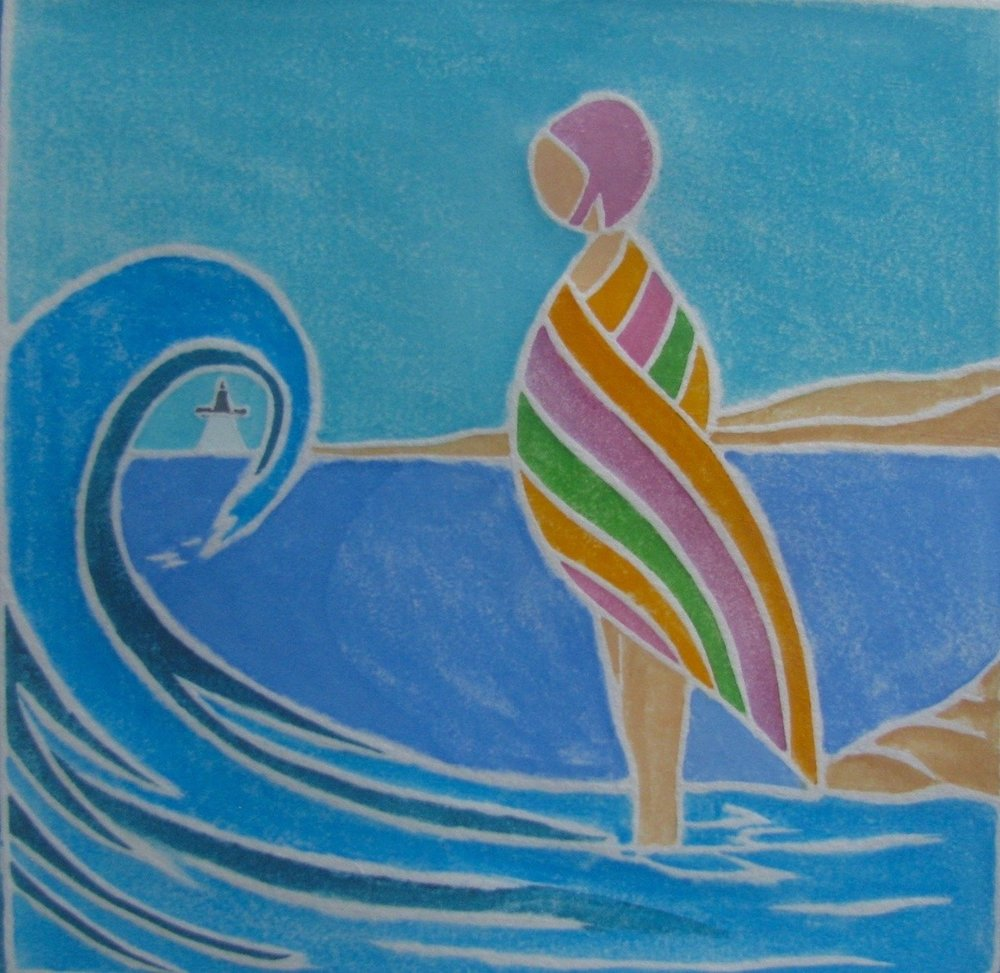 """""""After the Swim"""" image size 6"""" x 6"""""""